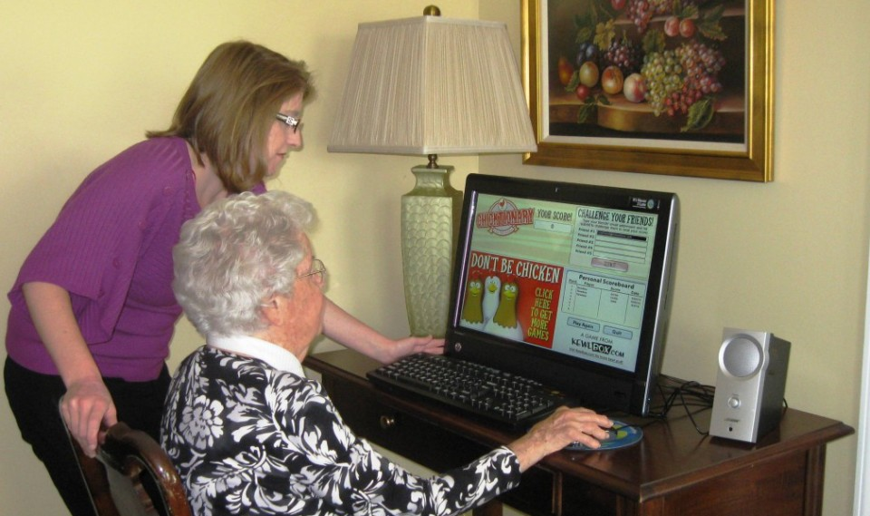 resident using computer