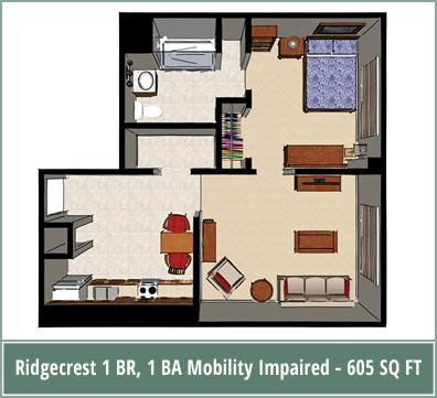 Floor plans of senior living apartments at Ridgecrest